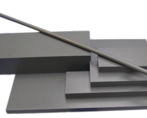 PVC grijs plaat en staf